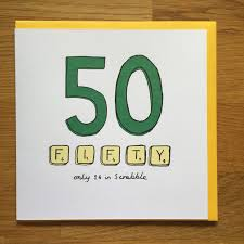 fiftieth birthday card 50 50th scrabble happy birthday card