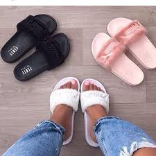 pink slides shoes flats slippers pink white black slides