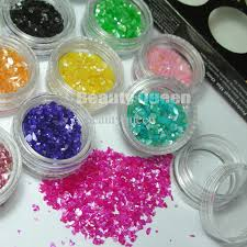 nail art cracked shell powder chips particle mylar sheets tip