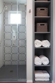 Next Bathroom Shelves Gray Niche Shelves Next To Shower Transitional Bathroom