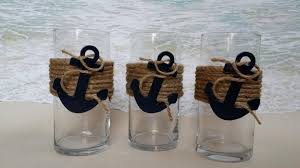 Vases For Flowers Wedding Centerpieces Set Of 3 Nautical Vase Centerpieces Anchor Navy Boating Boat