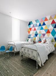 21 creative accent wall ideas for trendy kids bedrooms view in gallery fabulous wallpaper adds color and pattern to the cool kids bedroom design shawback