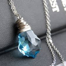 blue crystal necklace pendant images Clearance sale light blue crystal pendant necklace blue jewelry jpg