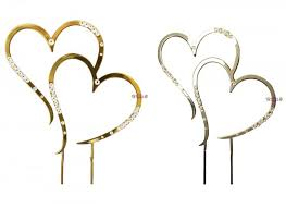 heart cake topper silver or gold wedding cake topper heart diamante decorations