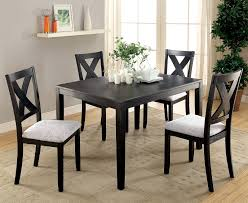 glenham transitional style distressed black finish 5 pcs dining