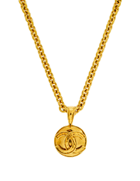 gold necklace vintage images Chanel vintage gold cc logo pendant necklace from amarcord jpg
