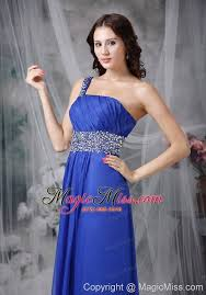 royal blue empire one shoulder floor length beading chiffon prom