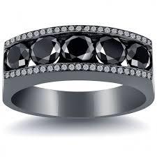mens black diamond wedding bands 4 25 carat black white diamond mens wedding band ring