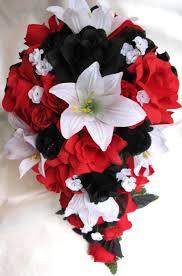 wedding bouquet bridal silk flowers cascade black red white lily