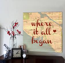 custom map art with heart in your spot anniversary gift for
