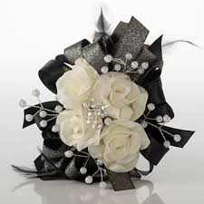 black and white corsage navy blue silver black prom corsage set by florescencebydesign