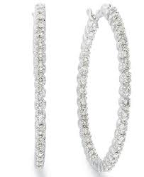 inside out diamond hoop earrings diamond in and out hoop earrings in 14k white gold 1 ct t w
