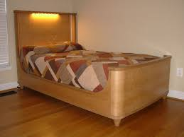 hand crafted art deco shelter bed in quarter sawn white oak lumber