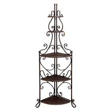 Baker Rack Furniture Country Style Cast Iron Corner Bakers Rack With Shelf