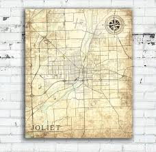 Map Of Joliet Il Joliet Il Canvas Print Illinois Vintage Map Vintage Wall Art