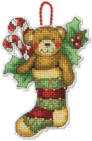dimensions bear christmas ornament cross stitch kit 70 08894