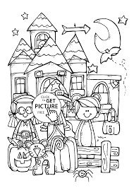 funny kids and halloween coloring page for kids printable free