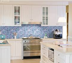 Sea Blue Glass Mosaic Tile Kitchen Backsplash Grey Marble Bathroom - Blue glass tile backsplash