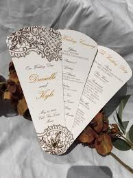 wedding paper fans intricate lace design wedding program fans petal fan programs