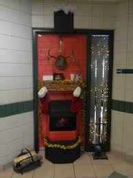 christmas door decorating contest cardboard fireplace and deer