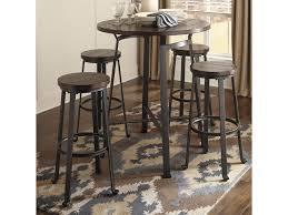 dining room bar table ashley signature design challiman 5 piece round bar table set