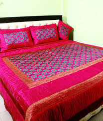 Throw Pillow Covers Online India Shiva Solutions Pink Traditional Blends 1 Double Bed Sheet With 4