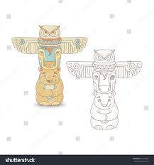 north indian totem pole owl buffalo stock vector 521239528