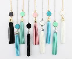custom necklaces cheap personalized initial monogram blanks acrylic disc velvet tassel