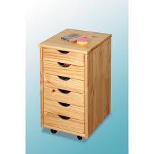 tiroir de bureau caisson sur roulettes pin naturel nils meuble 6 tiroirs pour
