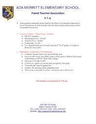pta meeting invitation general meeting minutes ada merritt pta