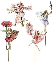 16 stand up vintage flower fairy themed edible wafer paper cake