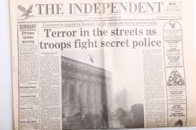 newspaper front pages from the 1980s