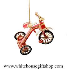 tricycle ornament 3 d 24kt gold plated white house gift
