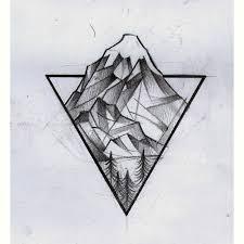 drawn mountain geometric pencil and in color drawn mountain
