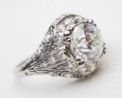 deco engagement ring palladium filigree diamond ring deco diamond engagement ring