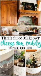 thrift store cheese box caddy makeover farmhouse style kitchen hoop cheese box is transformed into a french country farmhouse styled kitchen caddy