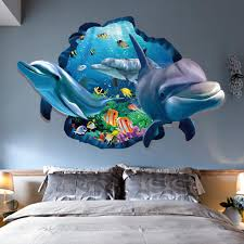 dolphin home decor 3d underwater lovely dolphin floor wall sticker removable mural