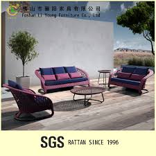 Cheap Outdoor Rattan Furniture by Pink Color Outdoor Wicker Sofa Set Balcony Poly Rattan Sofa Cheap