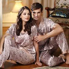 luxury his hers matching couples artificial silk pajamas