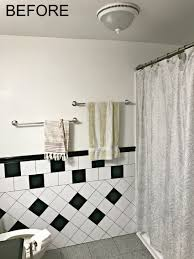 retro black white and teal bathroom makeover on a budget the