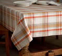 pottery barn table linens pumpkin plaid tablecloth pottery barn