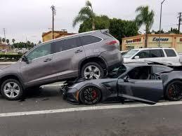corvette car crash corvette lifts up suv in reckless driving crash huntington