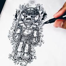 drawn astronaut pen pencil and in color drawn astronaut pen