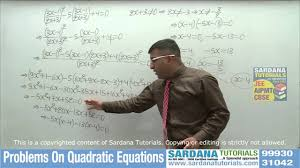 10th class quadratic equations questions youtube