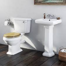 Matching Pedestal Sink And Toilet Cavendish Toilet Suite With Oak Effect Seat And Full Pedestal