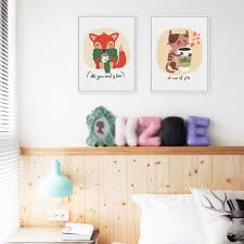 Kawaii Room Decor by Modern Kawaii Animals Cat Fox A4 Art Print Posters Coffee Tea Wall