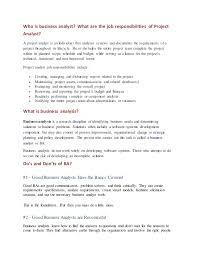 It Business Analyst Job Description Resume Business Analyst Job Description Roles Of The Business Analyst