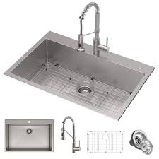 what size sink for 33 base cabinet 33 drop in undermount kitchen sink w bolden commercial pull faucet in spot free stainless steel