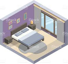 vector isometric illustration of hotel room flat 3d interior