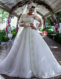 lace appliques modest wedding gown a line boat neck glitter bead